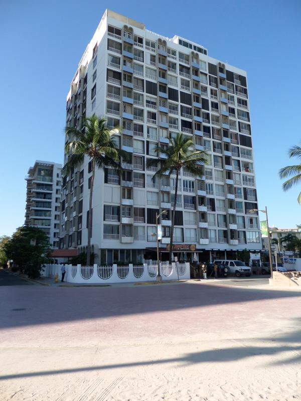 Our building from the beach (yep, it's that close)