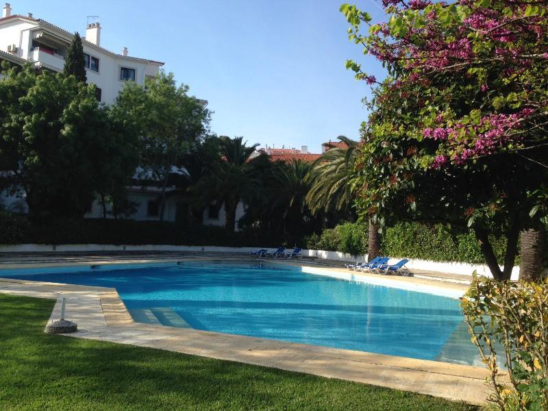 Le condo possède une grande piscine, avec chaises longues, entouré d'arbres et un grand espace herbeux pour se détendre