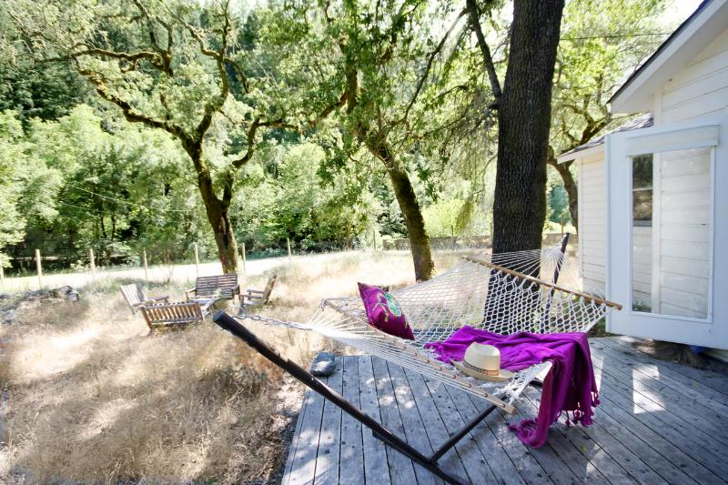 Cottage deck. Can you picture yourself in the hammock?