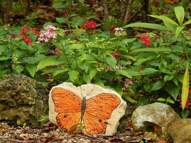Artwork along private nature trail