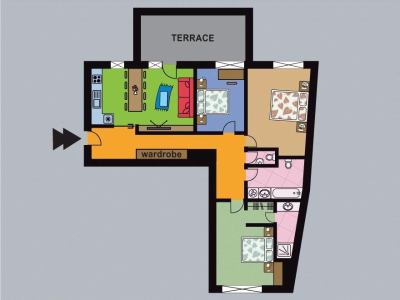 Three-Bedroom Terrace Apartment - floor plan