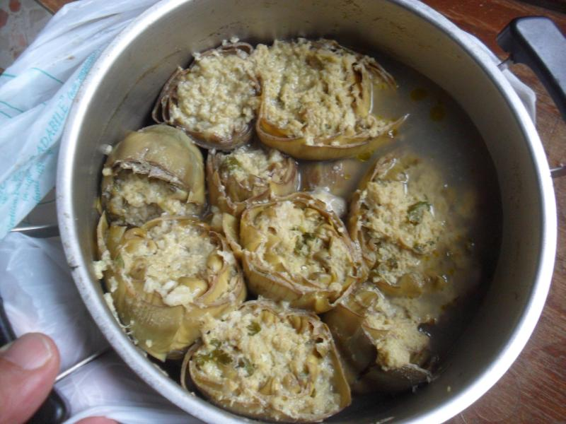 Stuffed artichokes, bread crumbs, hamburger meat and spices