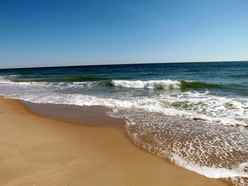 La plage--privée, peu fréquentée, surveillée et propre.  Profitez !