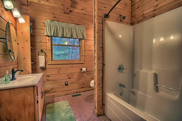 Second floor bathroom with tub/shower combination