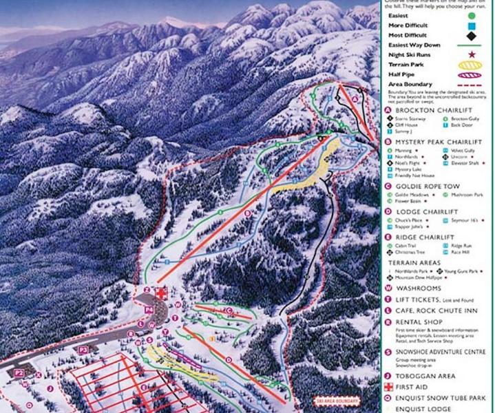 Mt. Seymour Ski/Snowboard Trail map (15 minute drive!)