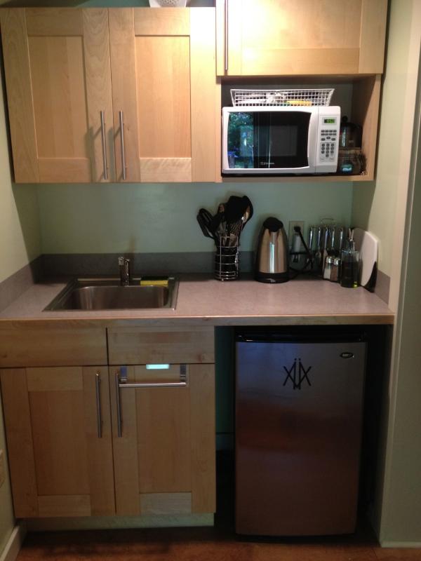 Keuken-inductie kookplaten, magnetron, broodrooster, koelkast - alles wat nodig is om te koken en serveren