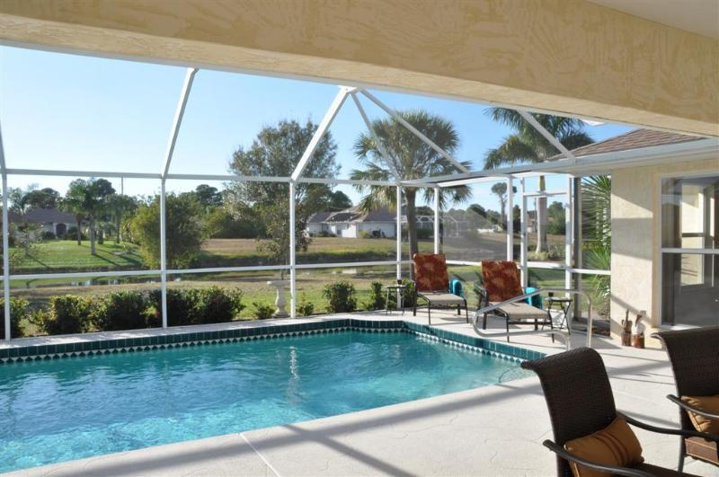 View across pool and deck to river