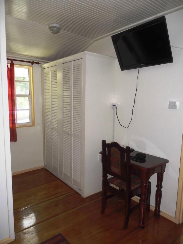 tv in the bedroom area