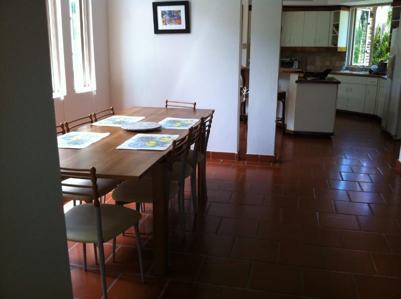 Dining room table and kitchen