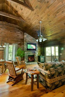 Great Room w/Floor to Ceiling Stacked Stone, Gas Log, Fireplace, DishTV, and Hideabed Couch.