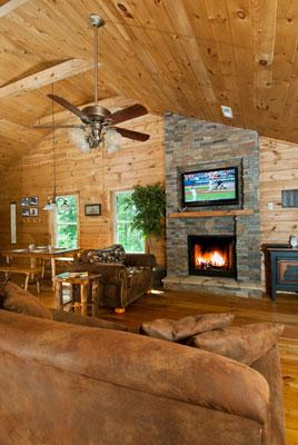 Spacious Great Room with Vaulted Ceiling, Stacked Stone Fireplace, DishTV, Ceiling Fan and more.