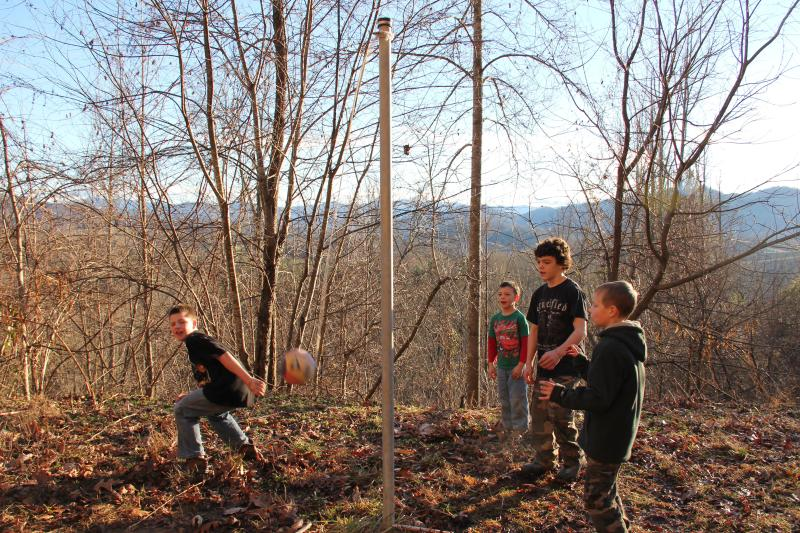 A game of tether ball in the mountains...