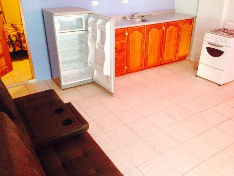 kitchenette, Refrigerator, stove and Sofa bed