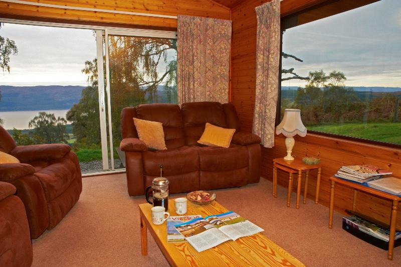 Lodge 5 Living Room looking out on Loch Ness