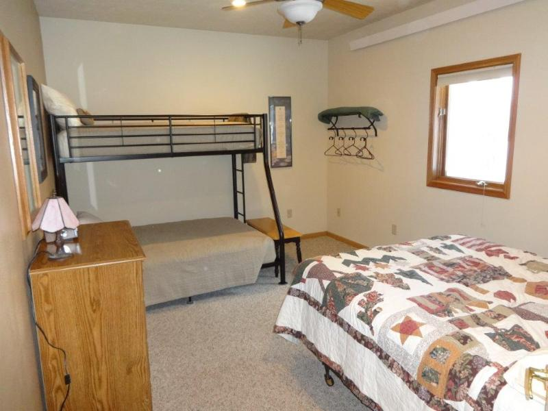 Queen Bed and Twin over Full Bunk Bed