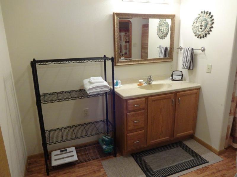 Bathroom with large vanity and storage.