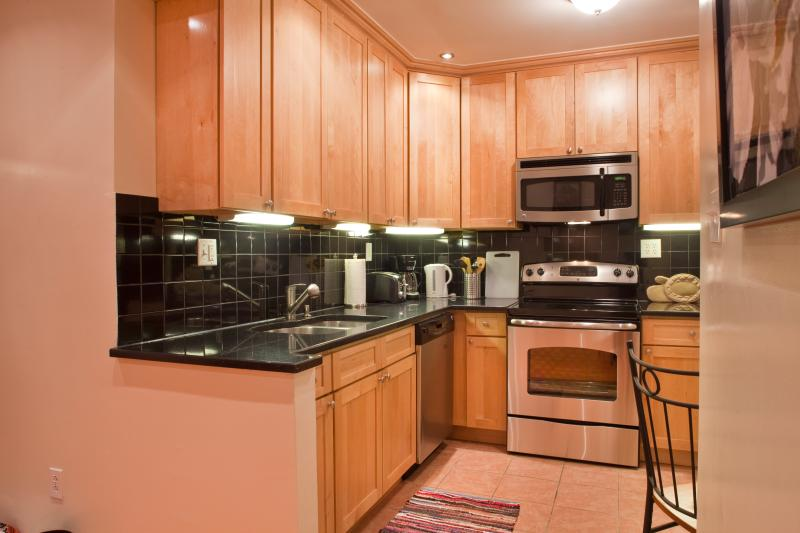 Warm wood cabinetry in kitchen