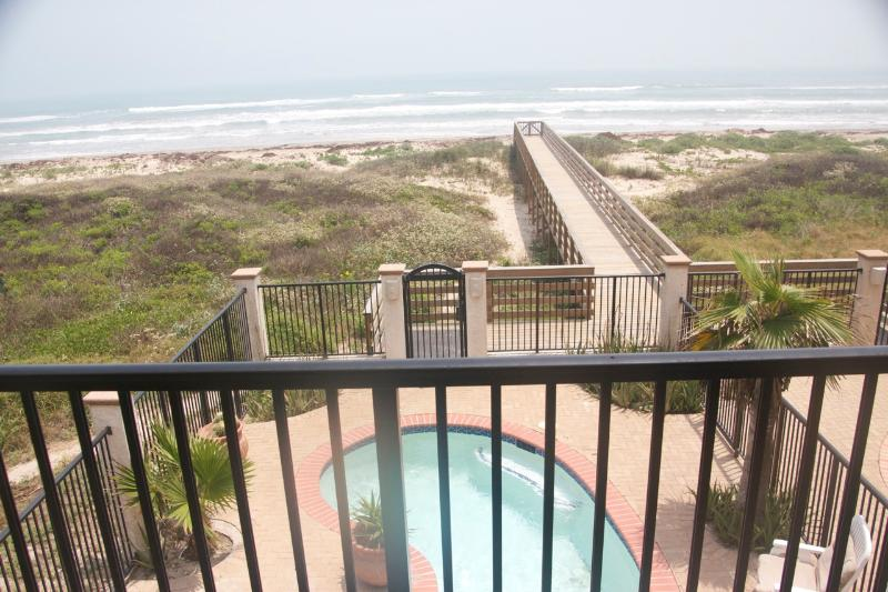 View of beach from 2nd floor balcony