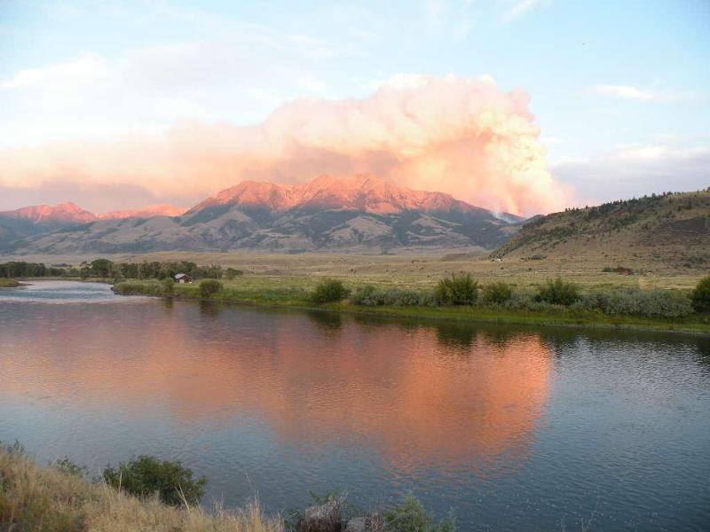 Forest fire near Emigrant Peak over the Yellowstone