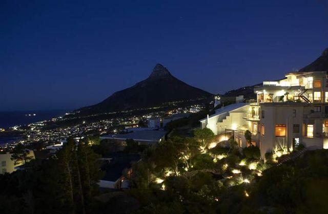 Lions head view at night