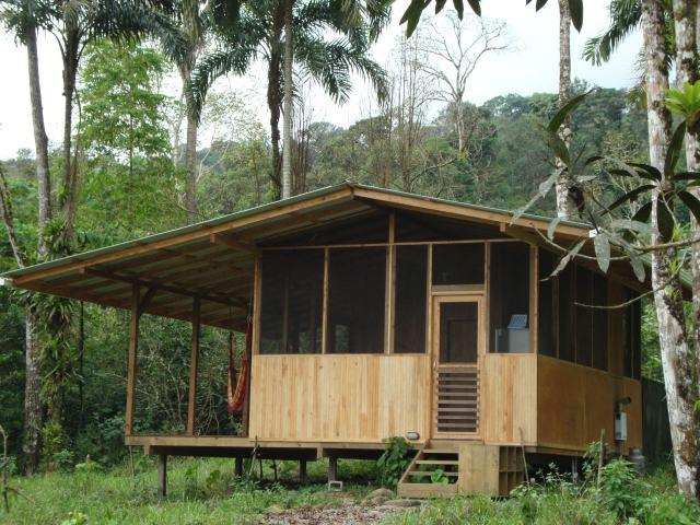 The Cabina is made of local wood and surrounded by cedar trees. This is the view from the front.