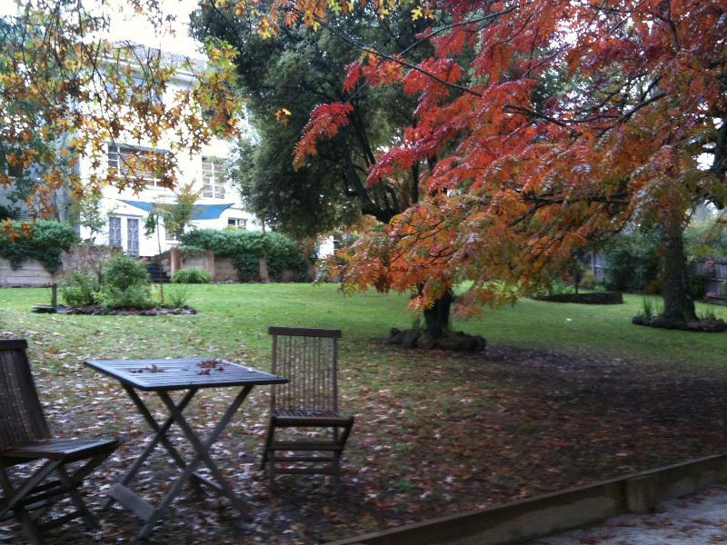Lakeshore House mirando desde el fondo del jardín de la casa.