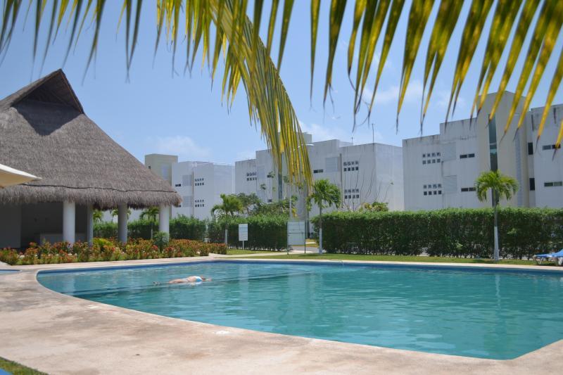 Área de la piscina compartida limpia a diario.