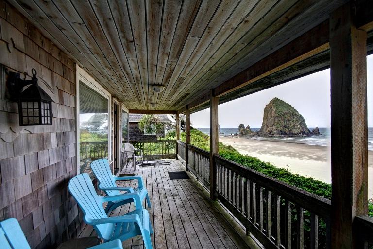 Deck with View of Haystack Rock