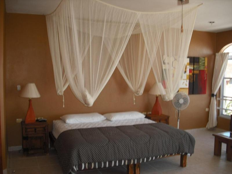 Master Suite, king bed, private bath, A/C, balcony with ocean view.
