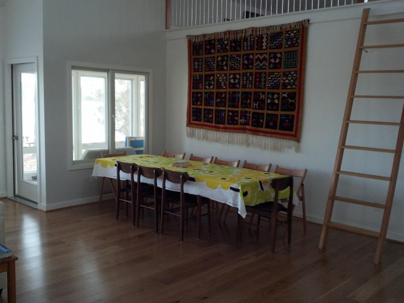 Dining area with long table