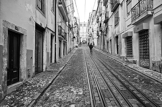 A black and white view of Bica, very close to the apartment