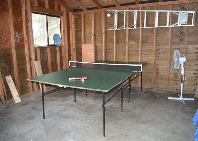 Garage with ping pong table.