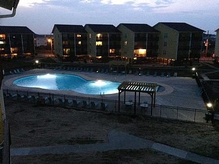 Surf Condos Community Pool at night