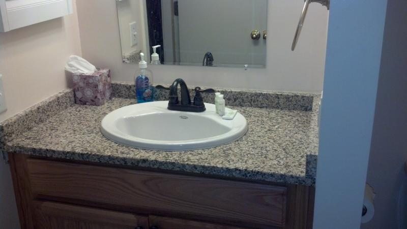 newly remodeled bathroom area