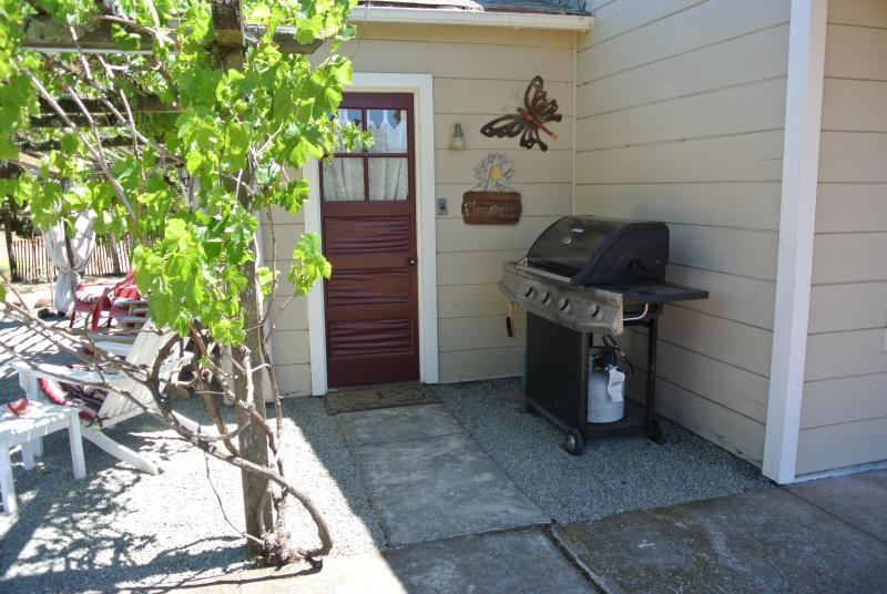 Stainless Steel Propane BBQ grill and door to our beautiful new vineyard bath.