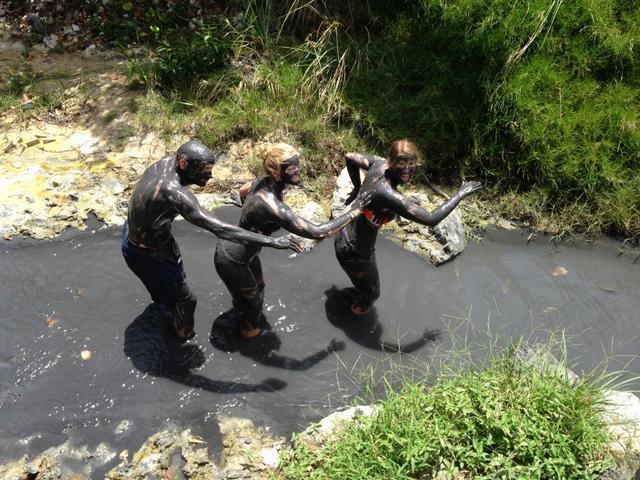 Guests enjoying the Sulphur Spring Mud Baths