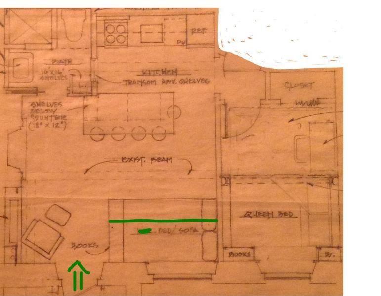 Modelo de apartamento (seta verde é entrada) Cama de solteiro dia na sala de estar