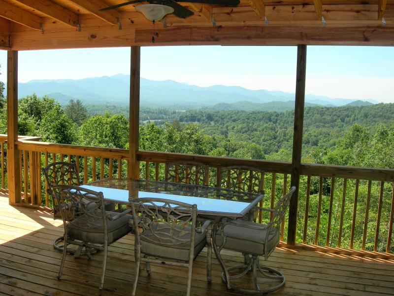 View from the kitchen and dining on the deck.