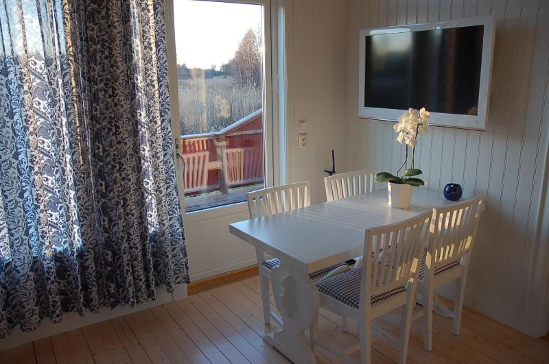 Dining table, TV with over 300 channels. Door to patio.