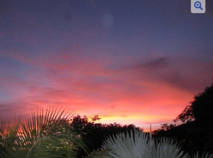 Spectacular sunset view from the private gardens.