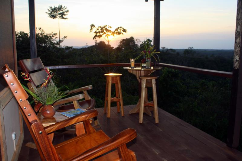 Our deck has views of the Sierpe River and 3 distinct mountain ranges