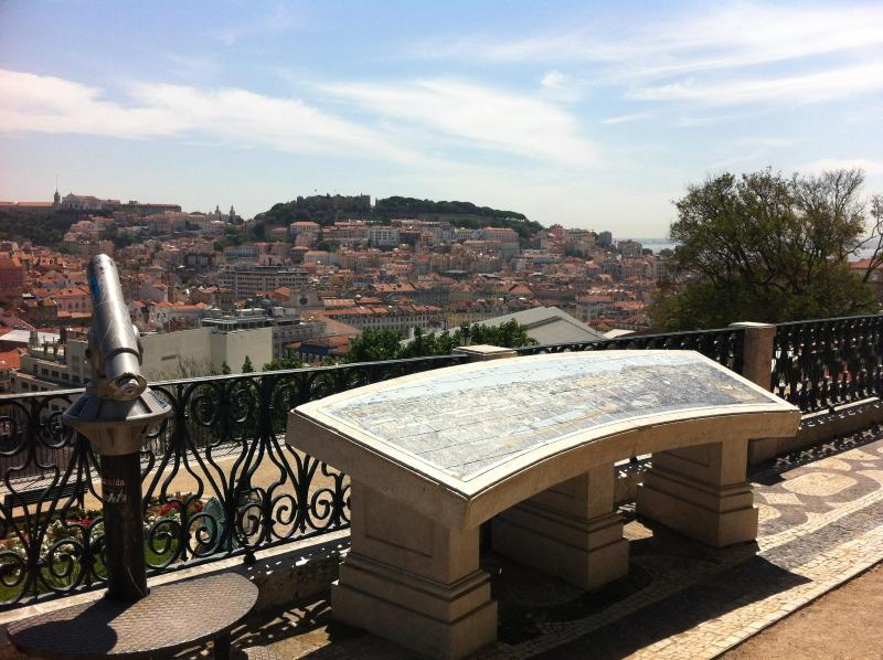 This mirador over historic Lisbon, castle, river is just beyond Chiado...10 minutes walk away!