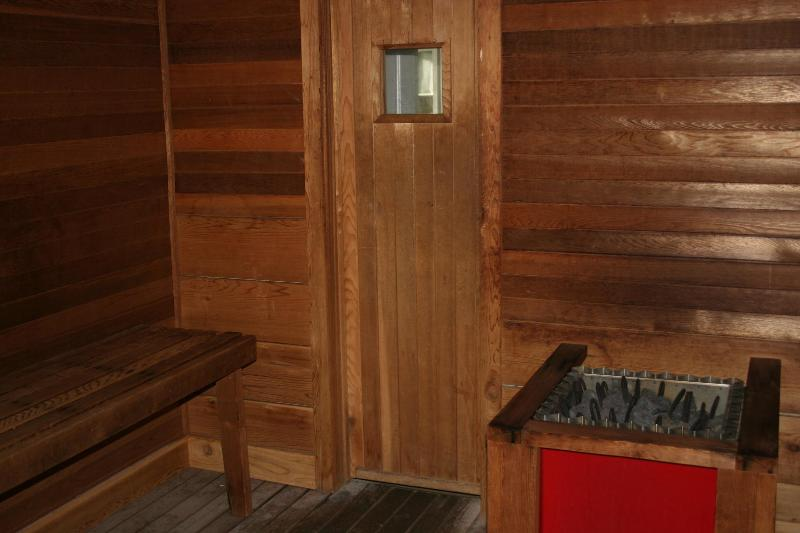Sauna literally steps away