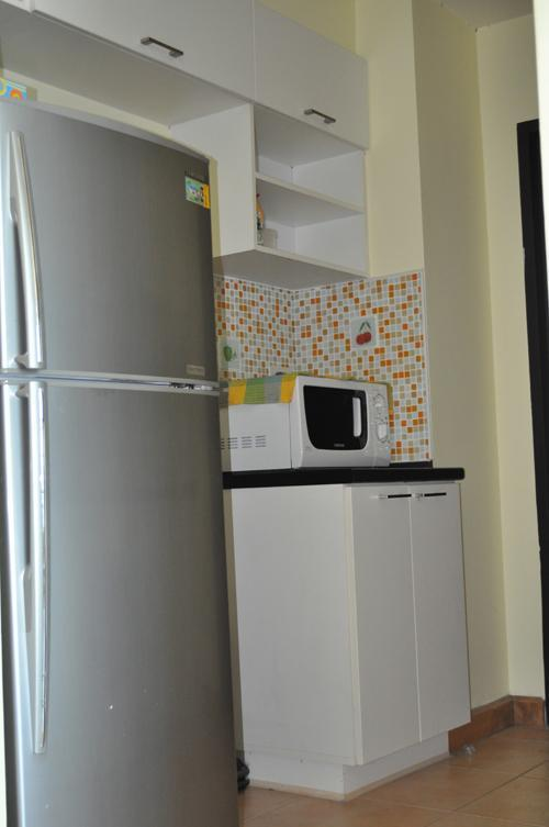 Modern appliances, including microwave and fridge
