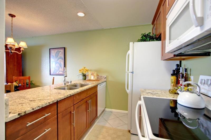 Newly Remodelled Kitchen with Granite Countertops and Full Size Washer & Dryer in Closet