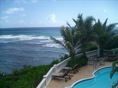 Private pool and deck overlooking the sea at Paradise Point, St. Croix