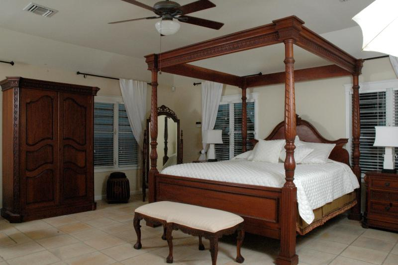 Four poster luxury in the master bedroom at Paradise Point, St. Croix, USVI