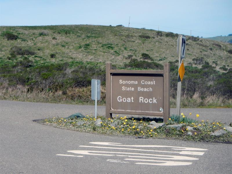 Look for this state park sign. Enter to reach property.