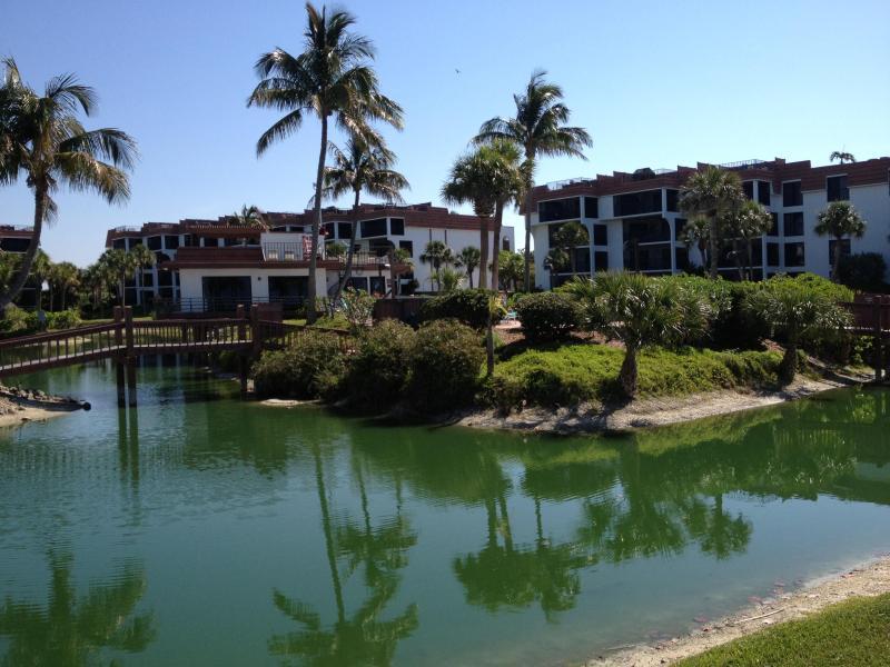 Club house, bridge and pond