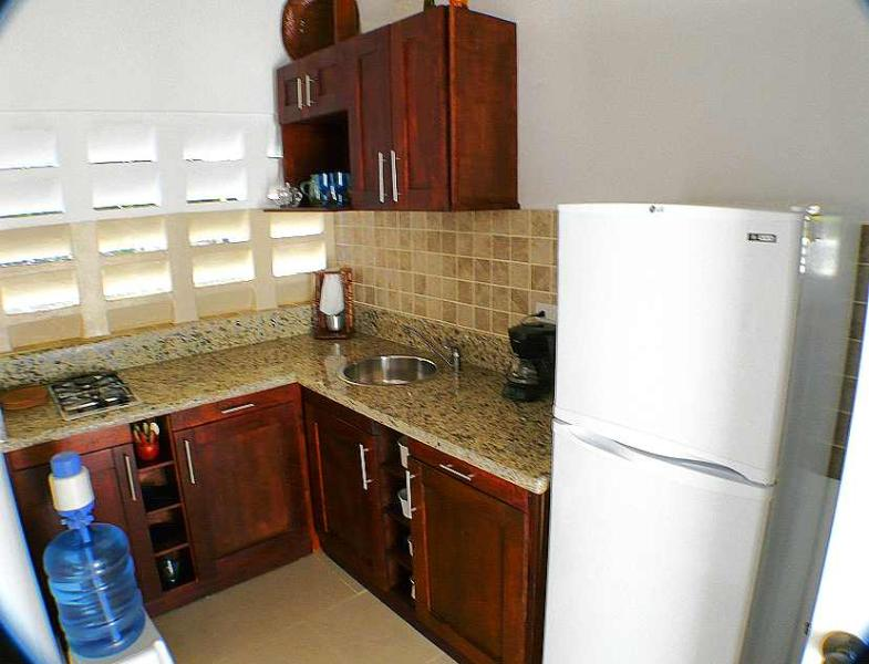 Fully equipped kitchen with fridge